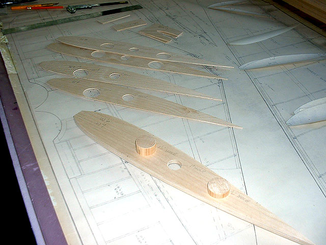 Plywood wing ribs cut and ready.